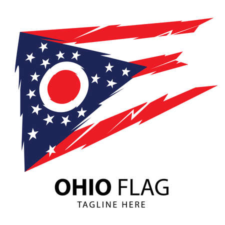 Flag of the US State of Ohio, detailed vector in abstract syle, good for tshirt, sticker design, and merchandise product