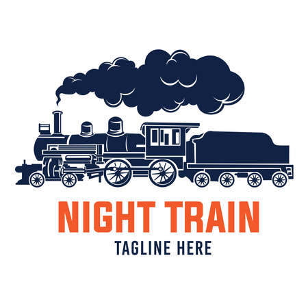 Locomotive Steam Train illustration  in vintage style, perfect for vintage store, pin, badge, antique store, and retro lover club logo
