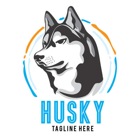 Siberian husky vector logo, perfect for husky lover club, tshirt,sticker, pet shop logo, and merchandise product