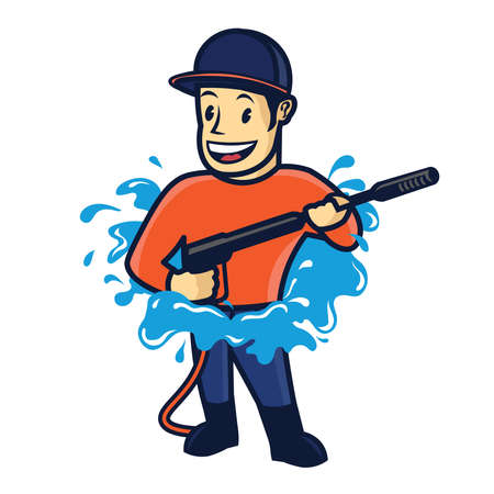Washer Pressure mascot character, good for Pressure washing service company and cleaning service logo