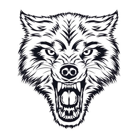 Angry Wolf face vector, perfect for tshirt design, zoo logo, merchandise also school team mascot logo Logo