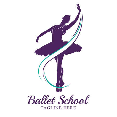 Ballerina vector illustration, good for Ballet school and Dance competition event logo. Can be used for logo, signage, posters and advertising your business, Vector illustration, sketch. Vectores