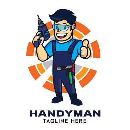 Handyman vector logo in retro style, perfect for home repair services company logo 矢量图像