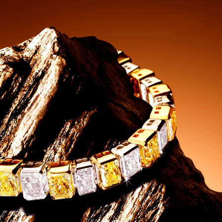 Bracelet with yellow diamonds                                 photo