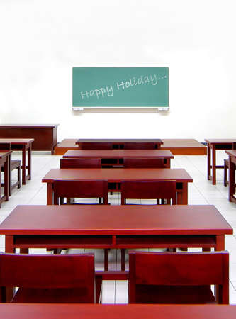 vocation: empty classroom, school holidays