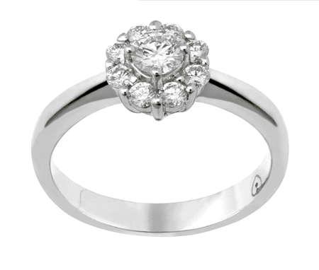 ring engagement: anillo de diamantes Foto de archivo