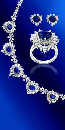 Blue sapphire set Stock Photo