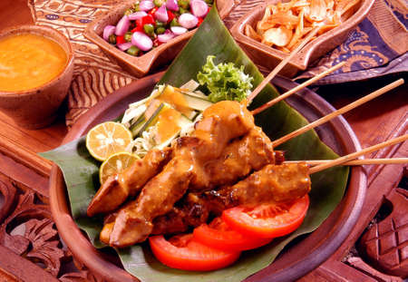 japanese foods: chicken satay                                 Stock Photo