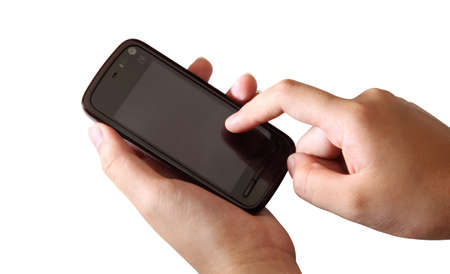 games hand: mobile phone on hand