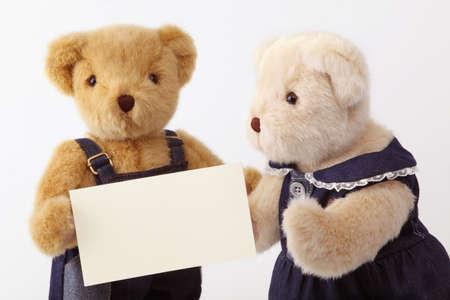 wedlock: teddy bear and blank card Stock Photo