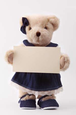 teddy bear and blank card photo