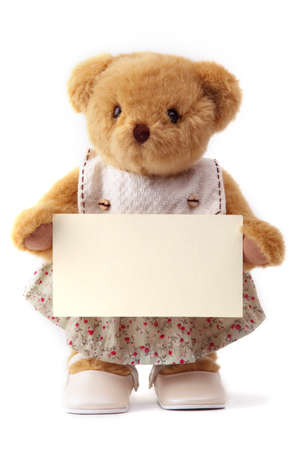 teddy bear and blank card Stock Photo