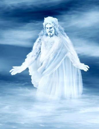 Jésus sur un nuage.