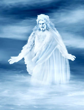 eternal life: jesus on a cloud  Stock Photo