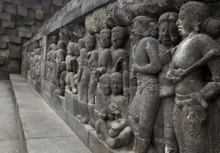 Relief in Borobudur Temple photo