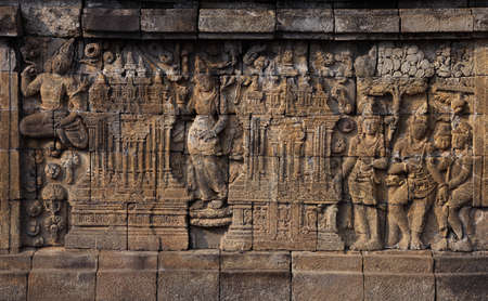Relief in Borobudur Temple Stock Photo - 10587570