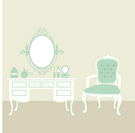 make up: maquillage vintage chambre Illustration