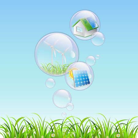 renewable bubble water clear  Vector
