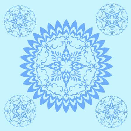 mandala ornament with blue background 矢量图像
