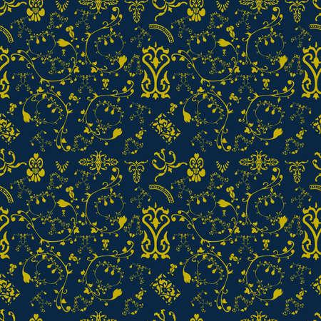 Ornamen style Victoria or Batik eamless pattern Иллюстрация