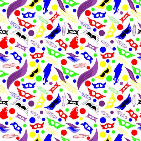 Patrón sin fisuras con el día de carnaval de color divertido