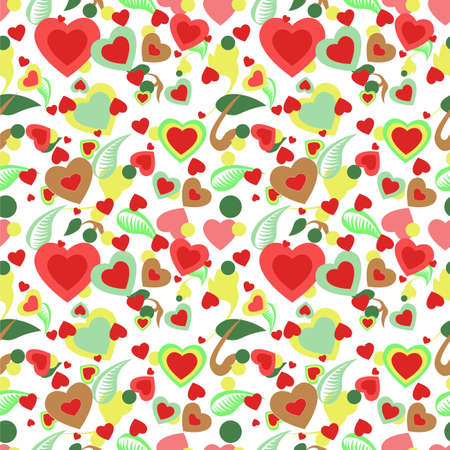 Seamless Pattern With Heart and Flowers Standard-Bild - 138782797