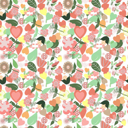 Seamless Pattern With Heart and Flowers Standard-Bild - 138782799