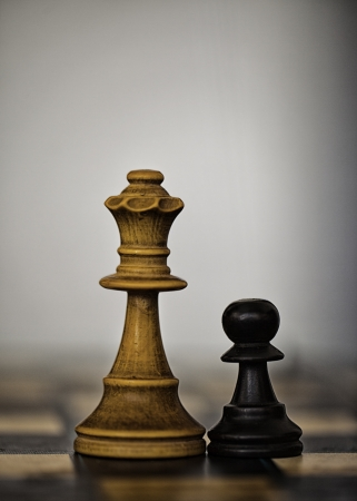 Wooden white chess queen and black pawn photo