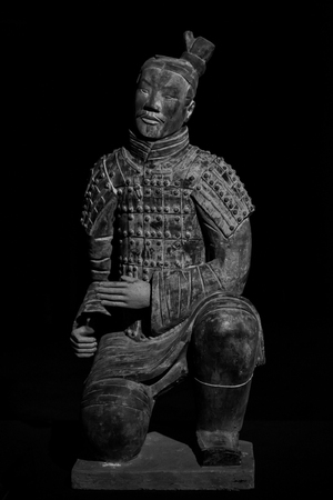 Replica Terracotta Warrior with Black Background