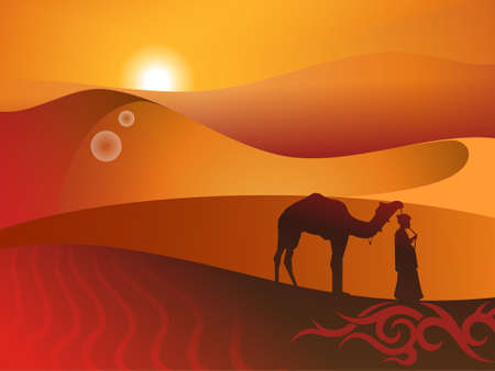 drover: Camel with the drover in desert