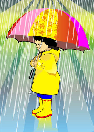 The girl with a umbrella Vector