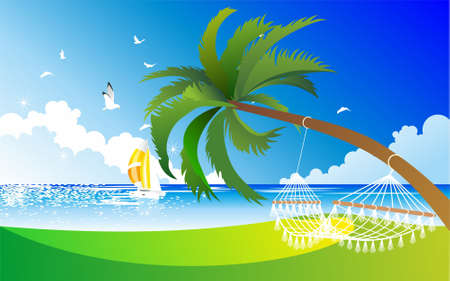 weighs: The sea coast  Hammock weighs on the palm  At sea, sailing yacht with colourful sails Illustration