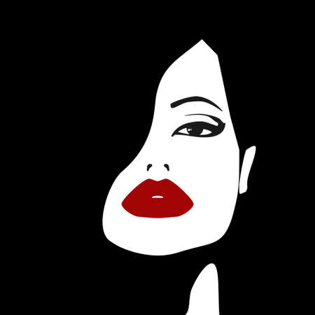 Face of a woman with red lips Vector