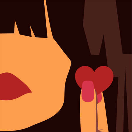 plump lips: The girl and the heart Illustration
