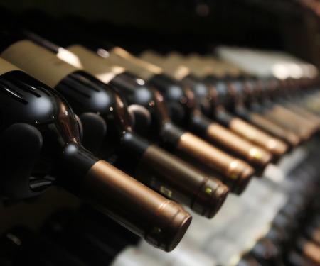 cellar: bottles of wine in row