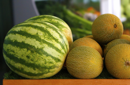 Melon and watermelon in greengrocer's Stock Photo