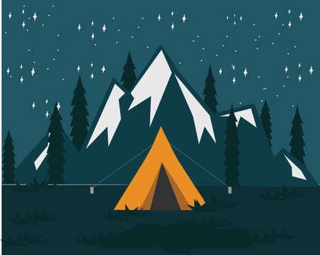 Night Camping With Mountain Background Ilustración de vector