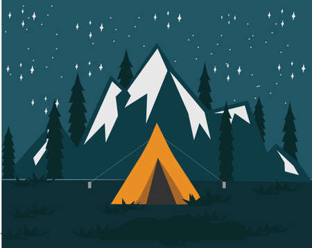 Night Camping With Mountain Background Vektorové ilustrace