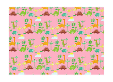 Dinosaur seamless with pink background. Baby cloth design, wallpaper Illustration vector