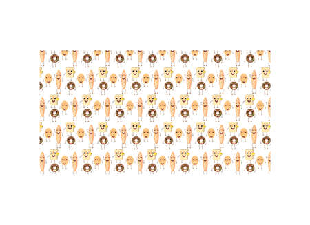 Seamless Cute Breads Background Pattern Illustration Vector