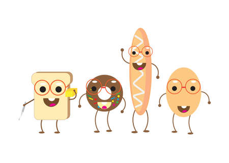 Cute Breads Background Illustration Vector