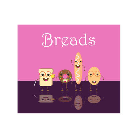 Cute Breads With Pink Background Illustration Vector Illustration