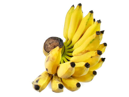 Bunch of over ripe banana  isolated on white background. Top view, Pisang Awak banana