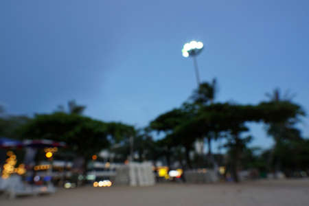 Blurred for background of lights on the beach at Pattaya, Abstract background, Space for text in template.