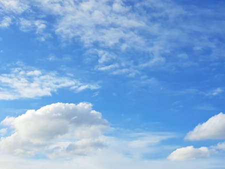 Beautiful nature blue sky with clouds, sky clouds background, cloudscape concept. Space for text in template. Empty. Looking up. 免版税图像