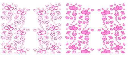 Set of  Heart with pink on white background, Background for banner, Valentines Day design, Love concept, greeting card, postcard, wedding invitation, Space for text in template Stock fotó