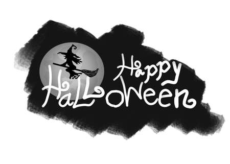 Logo of creative calligraphy for Halloween with Hand drawn of text, witch and full moon on black background, design for holiday greeting card and invitation, illustration, Collection