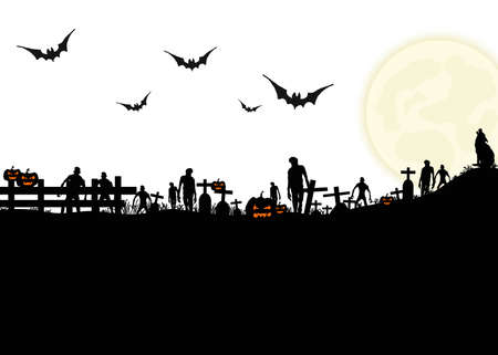 Halloween night background with silhouette of tomb, full moon, bats, wolf and zombie on white background, Hand drawn for Halloween party concept,  Space for text in template