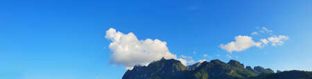 Panoramic view for landscape on mountain with sky and cloud, peace and relaxation, Beautiful nature to make our mind calm, copy space, Doi Chiang Dao at Thailand