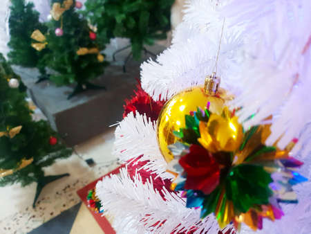 Soft Focus of decorated Christmas tree, Holiday background, Happy New Year and Xmas